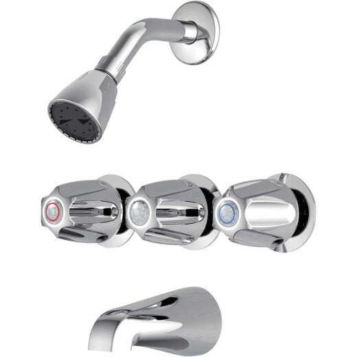 Home Impressions Chrome 3-Handle Metal Knob Tub & Shower Faucet