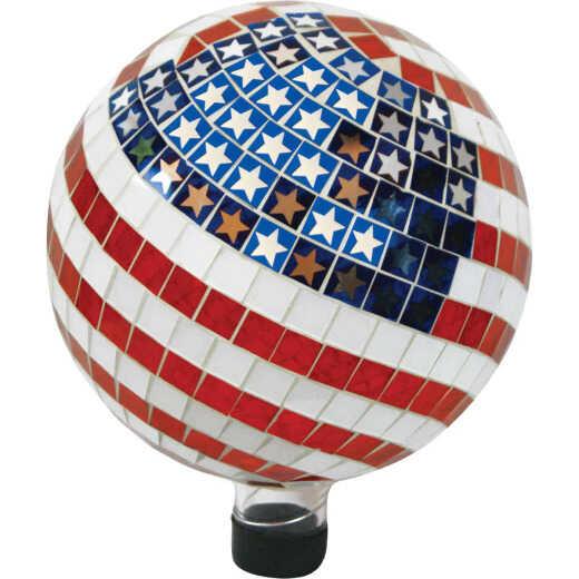 Alpine 10 In. Dia. Glass American Flag Gazing Globe Lawn Ornament