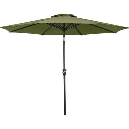 Outdoor Expressions 9 Ft. Aluminum Tilt/Crank Heather Green Patio Umbrella